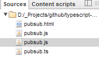 TypeScript files listed in the debugger