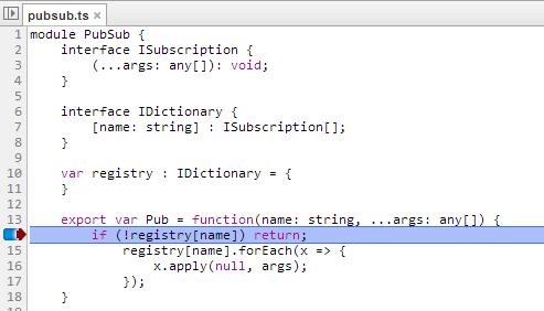 Break point in a TypeScript file