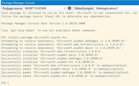 Installing ASP.NET MVC